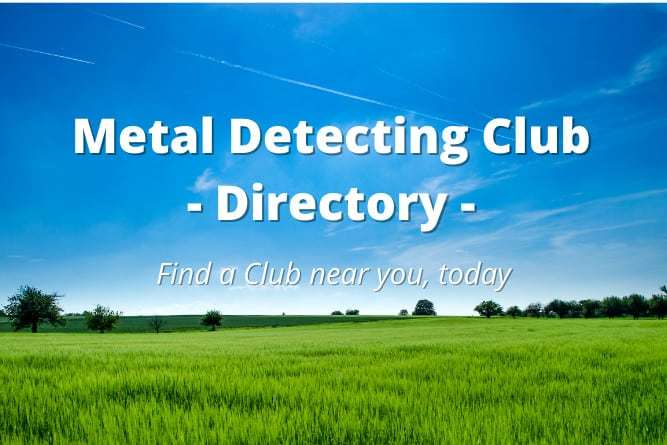 metal detecting club near me text overlaid on sky background