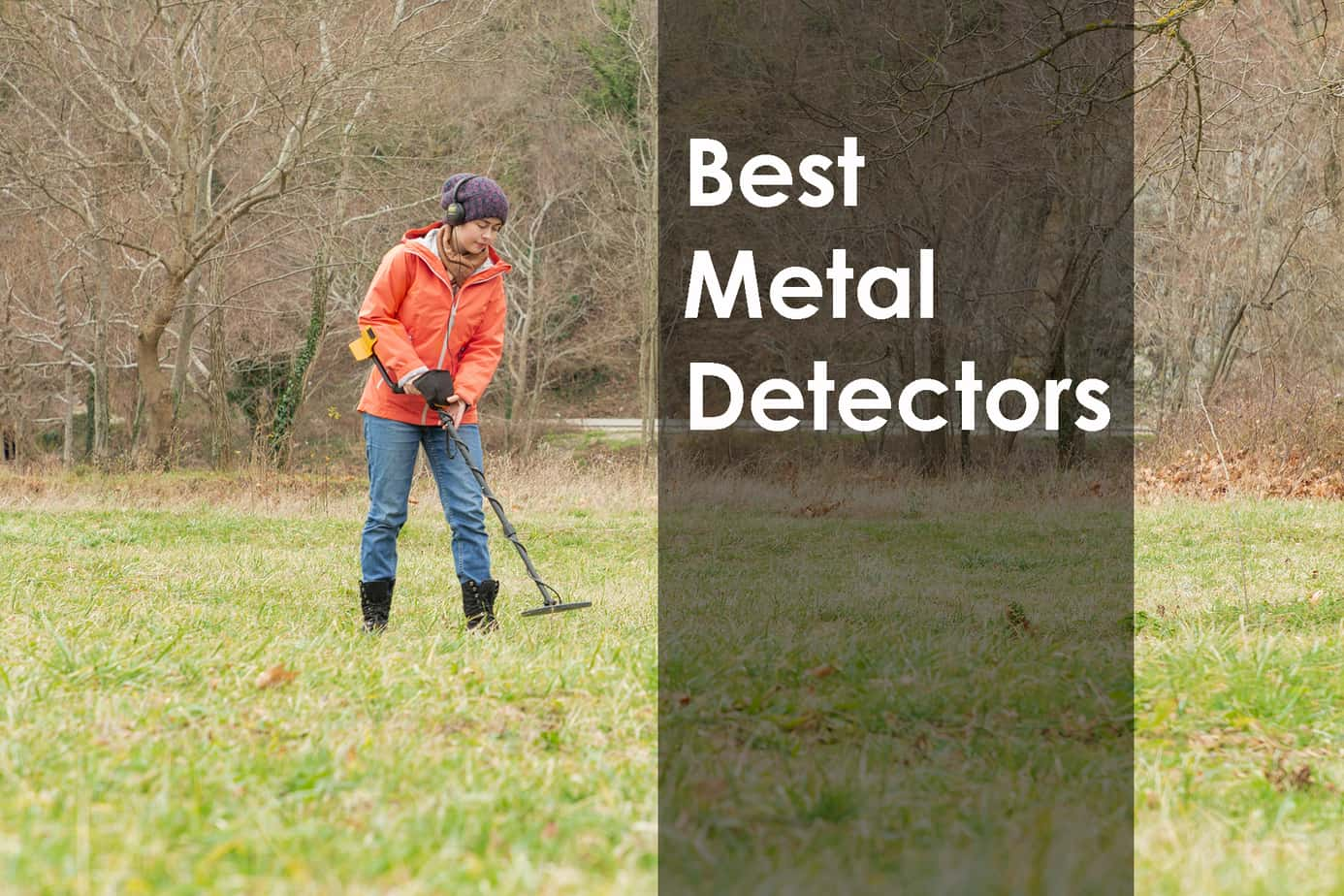 woman metal detecting in a field